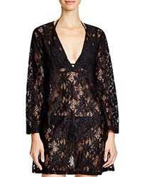 J. Valdi Daisy Lace Tunic Swim Cover Up Black