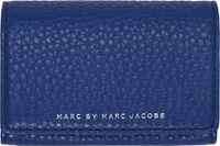 Marc By Marc Jacobs Navy Blue Grained Leather Chase Card Holder