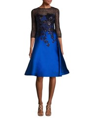 Rickie Freeman For Teri Jon Embellished Lace Applique Dress Royal Blue