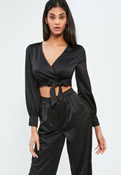 Missguided Petite Exclusive Black Satin Wrap Crop Blouse