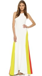Milly Italian Cady Colorblock Gown White