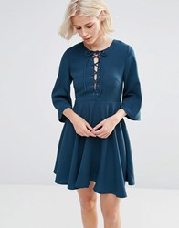 Millie Mackintosh Fluted Sleeve Dress With Strap Detailing Teal Green