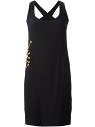 Gianfranco Ferre Vintage Lace Up Hardware Detail Dress Black