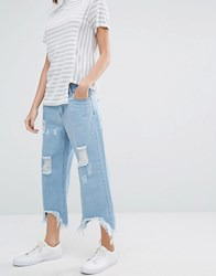 Daisy Street Relaxed Wide Leg Jeans With Raw Hems And Distressing Mid Blue