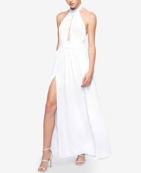 Fame And Partners Keyhole Halter Dress With Front Slit White