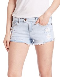Dittos Destroyed Denim Cutoff Shorts Blue