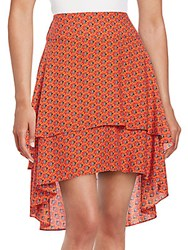 1.State Tiered High Low Skirt Red Salsa