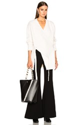 Proenza Schouler Wool Cashmere Wrap Cardigan In White