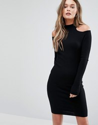 New Look Cold Shoulder Rib Dress Black