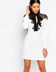 Lipsy Long Sleeve Swing Dress With Pretty Lace Contrast White