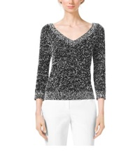 Michael Kors Tweed Boucle V Neck Sweater Black White