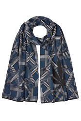 Lucien Pellat Finet Printed Cotton Scarf With Cashmere Blue