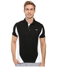 Lacoste T1 Short Sleeve Ultra Dry Color Block Black White Men's Clothing