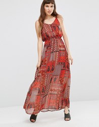 Qed London Paisley Print Patchwork Maxi Dress Orange