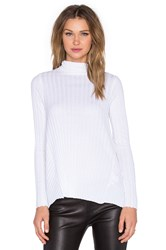 Enza Costa Cashmere Flare Long Sleeve Turtleneck Sweater White
