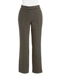 Anne Klein Jacquard Print Dress Pants Black Beige