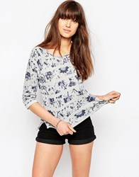 Only Attack Floral 3 4 Sleeve Sweatshirt In Grey And Blue Light Grey Melange A