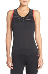 Women's Craft 'Glow' Singlet Tank Black Bright Red