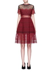 Self Portrait 'Felicia' Tulle Panel Floral Lace Dress Red