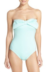 Kate Spade Women's New York Bow Neck One Piece Swimsuit Caribbean Sky Blue