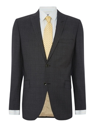 Corsivo Farina Prince Of Wales Check Suit Jacket Charcoal