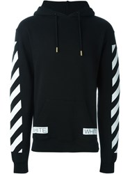 Off White Striped Detail Hoodie Black