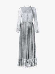 Adam By Adam Lippes Pleated Silk Blend Maxi Dress Metallic Silver