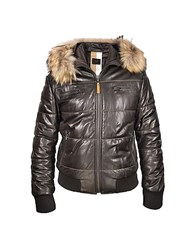 Forzieri Brown Fur Trim Bomber Jacket