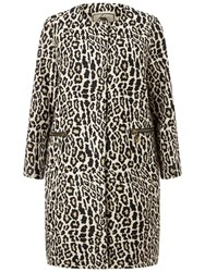 Four Seasons Collarless Animal Print Coat Black Brown