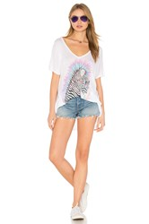 Lauren Moshi Trista Oversized V Neck Tee White