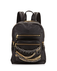Ash Domino Chain Small Leather Backpack Black Silver Gold