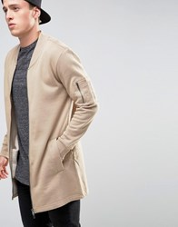 Brave Soul Longline Sweat Jacket Tan
