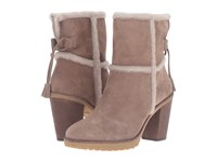 Frye Jen Shearling Short Taupe Water Resistant Suede Shearling Women's Dress Pull On Boots