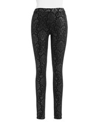 Hue Metallic Baroque Leggings Pewter Black