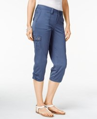 Styleandco. Style Co. Petite Embellished Capri Cargo Pants Only At Macy's New Uniform Blu