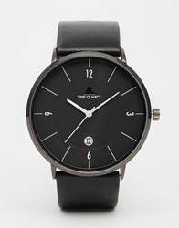 Asos Minimal Watch In Black With Leather Strap Black