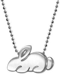 Alex Woo Little Rabbit Zodiac Pendant Necklace In Sterling Silver