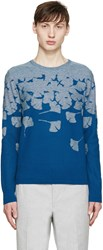 Carven Blue Floral Intarsia Sweater
