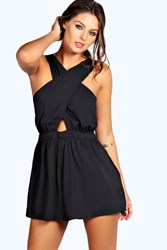 Boohoo Crossover Chiffon Playsuit Black