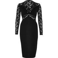 River Island Womens Black Lace Panel Bodycon Dress
