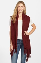 Curio Sweater Vest With Fringe Red