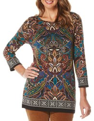 Rafaella Petite Engineer Printed Cotton Tunic Black