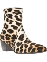 Giuseppe Zanotti Design Leopard Print Ankle Boots Nude And Neutrals