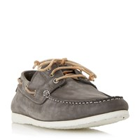 Dune Belize Lace Up Boat Shoe Grey