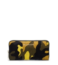 Michael Kors Jet Set Travel Camouflage Hair Calf Wallet Acid Yellow