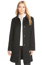 Petite Women's Fleurette Wool Spread Collar Coat Black
