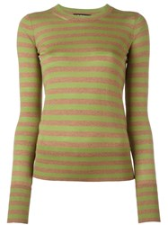 Rochas Striped Fine Knit Jumper Green