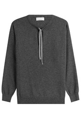 Brunello Cucinelli Cashmere Pullover With Embellished Ties Grey