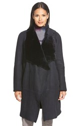 Women's Lafayette 148 New York 'Felice' Long Genuine Shearling Coat Ink