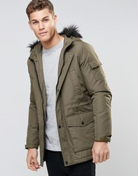 Asos Parka Jacket With Faux Fur Trim In Khaki Kahki